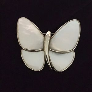 Vintage Sterling Silver and Mother of Pearl Pin